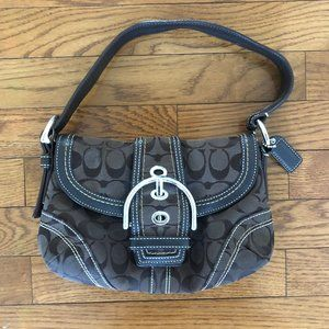 Coach Brown Monogram Hobo Purse with Leather Trim